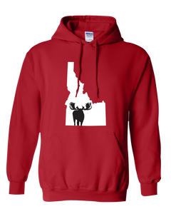 Pullover Hooded Sweatshirt Idaho Red Moose Vibrant Design High Quality Tight Knit Ring Spun Low Maintenance Cotton Printed With The Newest Available Color Transfer Technology
