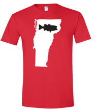 Load image into Gallery viewer, Short Sleeve T-Shirt Vermont Red Large Mouth Bass Vibrant Design High Quality Tight Knit Ring Spun Low Maintenance Cotton Printed With The Newest Available Color Transfer Technology