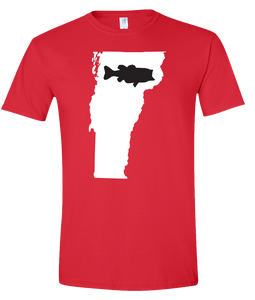 Short Sleeve T-Shirt Vermont Red Large Mouth Bass Vibrant Design High Quality Tight Knit Ring Spun Low Maintenance Cotton Printed With The Newest Available Color Transfer Technology