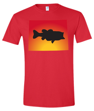 Load image into Gallery viewer, Short Sleeve T-Shirt Wyoming Red Large Mouth Bass Vibrant Design High Quality Tight Knit Ring Spun Low Maintenance Cotton Printed With The Newest Available Color Transfer Technology