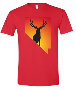 Short Sleeve T-Shirt Nevada Red Mule Deer Vibrant Design High Quality Tight Knit Ring Spun Low Maintenance Cotton Printed With The Newest Available Color Transfer Technology