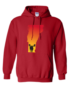 Pullover Hooded Sweatshirt Vermont Red Moose Vibrant Design High Quality Tight Knit Ring Spun Low Maintenance Cotton Printed With The Newest Available Color Transfer Technology