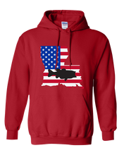 Load image into Gallery viewer, Pullover Hooded Sweatshirt Louisiana Red Large Mouth Bass Vibrant Design High Quality Tight Knit Ring Spun Low Maintenance Cotton Printed With The Newest Available Color Transfer Technology