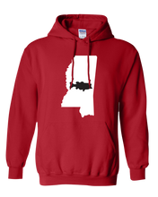 Load image into Gallery viewer, Pullover Hooded Sweatshirt Mississippi Red Large Mouth Bass Vibrant Design High Quality Tight Knit Ring Spun Low Maintenance Cotton Printed With The Newest Available Color Transfer Technology