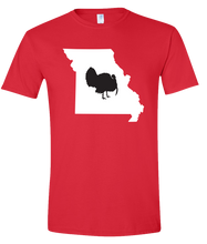 Load image into Gallery viewer, Short Sleeve T-Shirt Missouri Red Turkey Vibrant Design High Quality Tight Knit Ring Spun Low Maintenance Cotton Printed With The Newest Available Color Transfer Technology