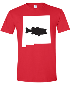 Short Sleeve T-Shirt New Mexico Red Large Mouth Bass Vibrant Design High Quality Tight Knit Ring Spun Low Maintenance Cotton Printed With The Newest Available Color Transfer Technology
