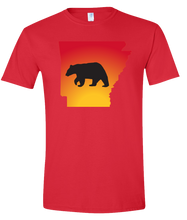 Load image into Gallery viewer, Short Sleeve T-Shirt Arkansas Red Black Bear Vibrant Design High Quality Tight Knit Ring Spun Low Maintenance Cotton Printed With The Newest Available Color Transfer Technology