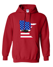 Load image into Gallery viewer, Pullover Hooded Sweatshirt Minnesota Red Large Mouth Bass Vibrant Design High Quality Tight Knit Ring Spun Low Maintenance Cotton Printed With The Newest Available Color Transfer Technology