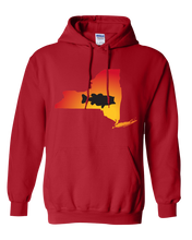 Load image into Gallery viewer, Pullover Hooded Sweatshirt New York Red Large Mouth Bass Vibrant Design High Quality Tight Knit Ring Spun Low Maintenance Cotton Printed With The Newest Available Color Transfer Technology