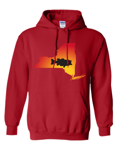 Pullover Hooded Sweatshirt New York Red Large Mouth Bass Vibrant Design High Quality Tight Knit Ring Spun Low Maintenance Cotton Printed With The Newest Available Color Transfer Technology