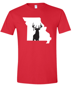 Short Sleeve T-Shirt Missouri Red Whitetail Deer Vibrant Design High Quality Tight Knit Ring Spun Low Maintenance Cotton Printed With The Newest Available Color Transfer Technology