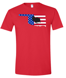 Short Sleeve T-Shirt Oklahoma Red Turkey Vibrant Design High Quality Tight Knit Ring Spun Low Maintenance Cotton Printed With The Newest Available Color Transfer Technology