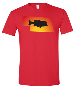 Short Sleeve T-Shirt Nebraska Red Large Mouth Bass Vibrant Design High Quality Tight Knit Ring Spun Low Maintenance Cotton Printed With The Newest Available Color Transfer Technology