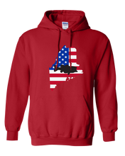 Load image into Gallery viewer, Pullover Hooded Sweatshirt Maine Red Large Mouth Bass Vibrant Design High Quality Tight Knit Ring Spun Low Maintenance Cotton Printed With The Newest Available Color Transfer Technology