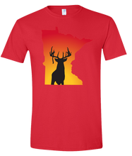 Load image into Gallery viewer, Short Sleeve T-Shirt Minnesota Red Whitetail Deer Vibrant Design High Quality Tight Knit Ring Spun Low Maintenance Cotton Printed With The Newest Available Color Transfer Technology