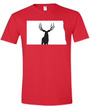 Load image into Gallery viewer, Short Sleeve T-Shirt North Dakota Red Mule Deer Vibrant Design High Quality Tight Knit Ring Spun Low Maintenance Cotton Printed With The Newest Available Color Transfer Technology