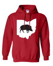 Load image into Gallery viewer, Pullover Hooded Sweatshirt Ohio Red Wild Hog Vibrant Design High Quality Tight Knit Ring Spun Low Maintenance Cotton Printed With The Newest Available Color Transfer Technology