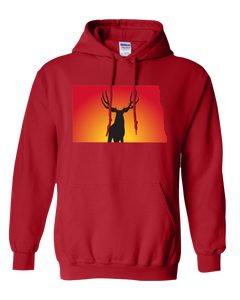 Pullover Hooded Sweatshirt North Dakota Red Mule Deer Vibrant Design High Quality Tight Knit Ring Spun Low Maintenance Cotton Printed With The Newest Available Color Transfer Technology