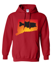 Load image into Gallery viewer, Pullover Hooded Sweatshirt Connecticut Red Large Mouth Bass Vibrant Design High Quality Tight Knit Ring Spun Low Maintenance Cotton Printed With The Newest Available Color Transfer Technology