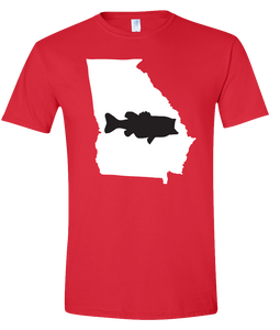 Short Sleeve T-Shirt Georgia Red Large Mouth Bass Vibrant Design High Quality Tight Knit Ring Spun Low Maintenance Cotton Printed With The Newest Available Color Transfer Technology