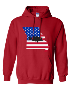 Pullover Hooded Sweatshirt Missouri Red Large Mouth Bass Vibrant Design High Quality Tight Knit Ring Spun Low Maintenance Cotton Printed With The Newest Available Color Transfer Technology