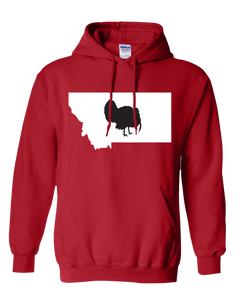 Pullover Hooded Sweatshirt Montana Red Turkey Vibrant Design High Quality Tight Knit Ring Spun Low Maintenance Cotton Printed With The Newest Available Color Transfer Technology