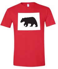 Load image into Gallery viewer, Short Sleeve T-Shirt Wyoming Red Black Bear Vibrant Design High Quality Tight Knit Ring Spun Low Maintenance Cotton Printed With The Newest Available Color Transfer Technology