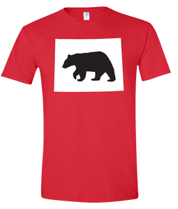 Short Sleeve T-Shirt Wyoming Red Black Bear Vibrant Design High Quality Tight Knit Ring Spun Low Maintenance Cotton Printed With The Newest Available Color Transfer Technology
