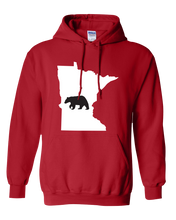 Load image into Gallery viewer, Pullover Hooded Sweatshirt Minnesota Red Black Bear Vibrant Design High Quality Tight Knit Ring Spun Low Maintenance Cotton Printed With The Newest Available Color Transfer Technology