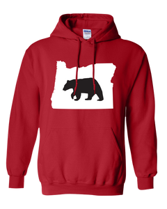 Pullover Hooded Sweatshirt Oregon Red Black Bear Vibrant Design High Quality Tight Knit Ring Spun Low Maintenance Cotton Printed With The Newest Available Color Transfer Technology