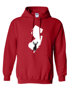 Pullover Hooded Sweatshirt New Jersey Red Whitetail Deer Vibrant Design High Quality Tight Knit Ring Spun Low Maintenance Cotton Printed With The Newest Available Color Transfer Technology