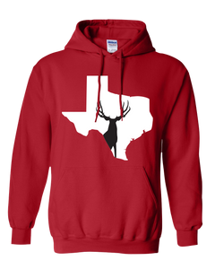 Pullover Hooded Sweatshirt Texas Red Mule Deer Vibrant Design High Quality Tight Knit Ring Spun Low Maintenance Cotton Printed With The Newest Available Color Transfer Technology