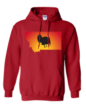 Load image into Gallery viewer, Pullover Hooded Sweatshirt Montana Red Turkey Vibrant Design High Quality Tight Knit Ring Spun Low Maintenance Cotton Printed With The Newest Available Color Transfer Technology