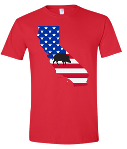Short Sleeve T-Shirt California Red Wild Hog Vibrant Design High Quality Tight Knit Ring Spun Low Maintenance Cotton Printed With The Newest Available Color Transfer Technology