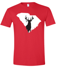 Load image into Gallery viewer, Short Sleeve T-Shirt South Carolina Red Whitetail Deer Vibrant Design High Quality Tight Knit Ring Spun Low Maintenance Cotton Printed With The Newest Available Color Transfer Technology