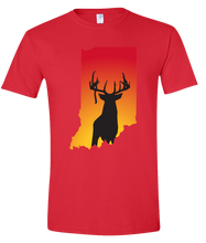 Load image into Gallery viewer, Short Sleeve T-Shirt Indiana Red Whitetail Deer Vibrant Design High Quality Tight Knit Ring Spun Low Maintenance Cotton Printed With The Newest Available Color Transfer Technology