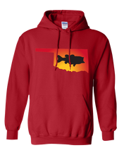 Load image into Gallery viewer, Pullover Hooded Sweatshirt Oklahoma Red Large Mouth Bass Vibrant Design High Quality Tight Knit Ring Spun Low Maintenance Cotton Printed With The Newest Available Color Transfer Technology