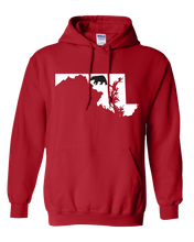 Load image into Gallery viewer, Pullover Hooded Sweatshirt Maryland Red Black Bear Vibrant Design High Quality Tight Knit Ring Spun Low Maintenance Cotton Printed With The Newest Available Color Transfer Technology