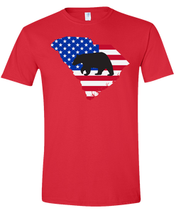Short Sleeve T-Shirt South Carolina Red Black Bear Vibrant Design High Quality Tight Knit Ring Spun Low Maintenance Cotton Printed With The Newest Available Color Transfer Technology