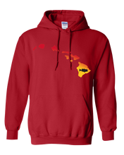 Load image into Gallery viewer, Pullover Hooded Sweatshirt Hawaii Red Large Mouth Bass Vibrant Design High Quality Tight Knit Ring Spun Low Maintenance Cotton Printed With The Newest Available Color Transfer Technology