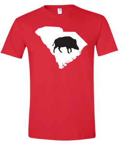 Short Sleeve T-Shirt South Carolina Red Wild Hog Vibrant Design High Quality Tight Knit Ring Spun Low Maintenance Cotton Printed With The Newest Available Color Transfer Technology