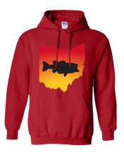 Load image into Gallery viewer, Pullover Hooded Sweatshirt Ohio Red Large Mouth Bass Vibrant Design High Quality Tight Knit Ring Spun Low Maintenance Cotton Printed With The Newest Available Color Transfer Technology