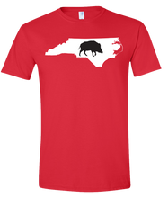Load image into Gallery viewer, Short Sleeve T-Shirt North Carolina Red Wild Hog Vibrant Design High Quality Tight Knit Ring Spun Low Maintenance Cotton Printed With The Newest Available Color Transfer Technology