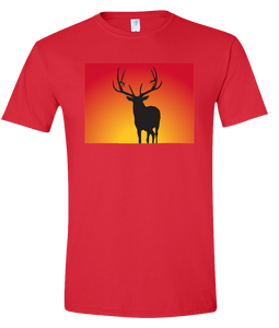 Short Sleeve T-Shirt Colorado Red Elk Vibrant Design High Quality Tight Knit Ring Spun Low Maintenance Cotton Printed With The Newest Available Color Transfer Technology