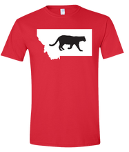 Load image into Gallery viewer, Short Sleeve T-Shirt Montana Red Mountain Lion Vibrant Design High Quality Tight Knit Ring Spun Low Maintenance Cotton Printed With The Newest Available Color Transfer Technology