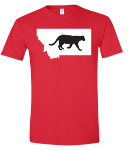 Short Sleeve T-Shirt Montana Red Mountain Lion Vibrant Design High Quality Tight Knit Ring Spun Low Maintenance Cotton Printed With The Newest Available Color Transfer Technology