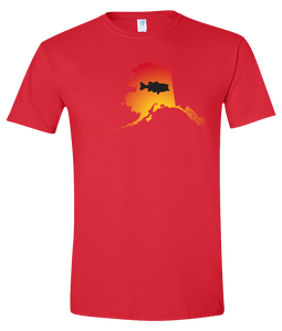 Short Sleeve T-Shirt Alaska Red Large Mouth Bass Vibrant Design High Quality Tight Knit Ring Spun Low Maintenance Cotton Printed With The Newest Available Color Transfer Technology