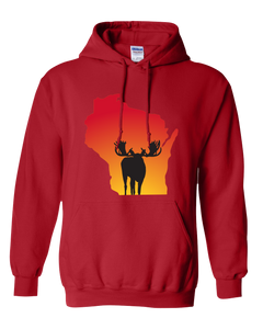 Pullover Hooded Sweatshirt Wisconsin Red Moose Vibrant Design High Quality Tight Knit Ring Spun Low Maintenance Cotton Printed With The Newest Available Color Transfer Technology