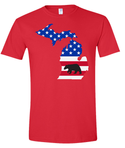 Short Sleeve T-Shirt Michigan Red Black Bear Vibrant Design High Quality Tight Knit Ring Spun Low Maintenance Cotton Printed With The Newest Available Color Transfer Technology