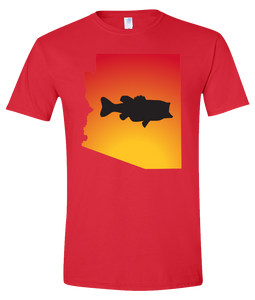 Short Sleeve T-Shirt Arizona Red Large Mouth Bass Vibrant Design High Quality Tight Knit Ring Spun Low Maintenance Cotton Printed With The Newest Available Color Transfer Technology